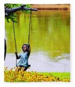 Garden Swing By The River Fleece Blanket