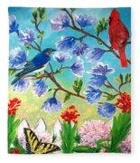 Garden View Birds And Butterfly Fleece Blanket