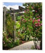 Garden With Roses Fleece Blanket