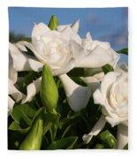 Gardenia Flowers Fleece Blanket