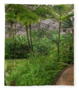 Garfield Park Conservatory Pond And Path Chicago Fleece Blanket