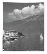 Gargnano On Lake Garda, Italy.    Black And White Fleece Blanket