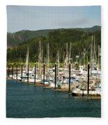 Garibaldi Oregon Marina Fleece Blanket