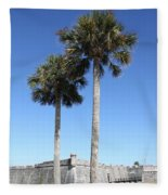 Garrita And Palms At The Fort Fleece Blanket
