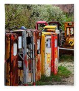 Gas Pump Conga Line In New Mexico Fleece Blanket