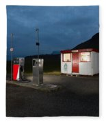 Gas Station In The Countryside, South Fleece Blanket