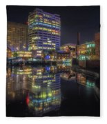 Gas Street Basin At Night Fleece Blanket