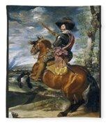 Gaspar De Guzmn Conde-duque De Olivares A Caballo Diego Rodriguez De Silva Y Velazquez Fleece Blanket