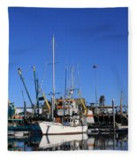 Glassy Harbor Reflection Fleece Blanket