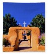 gate of church in Ranchos Fleece Blanket