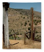 Gate Out Of Virginia City Nv Cemetery Fleece Blanket