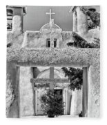 Gate To Ranchos Church Black And White Fleece Blanket