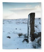 Gatepost In The Snow Fleece Blanket