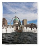 Gateway Arch And Old Courthouse In St. Louis Fleece Blanket