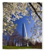 Gateway Arch With Cherry Tree In Bloom. Fleece Blanket