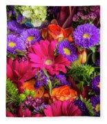 Gathered Garden Flowers Fleece Blanket