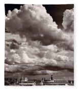 Gathering Clouds Over Lake Geneva Bw Fleece Blanket