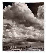 Gathering Clouds Over Lake Geneva Bw Fleece Blanket