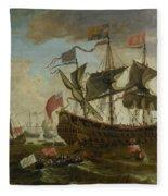 Gathering Of English Ships Fleece Blanket