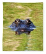 Gator In The Green - Digital Art Fleece Blanket
