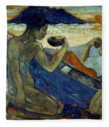 Gauguin: Pirogue, 19th C Fleece Blanket