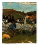Gauguin: Swineherd, 1888 Fleece Blanket