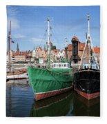 Gdansk Old Town Skyline From The Harbour Fleece Blanket