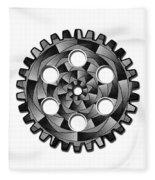Gearwheel In Black And White Fleece Blanket