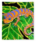 Gecko Hanging On Fleece Blanket