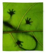 Gecko On A Leaf Fleece Blanket