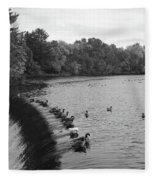 Ducks And Canada Geese On The Charles River Fleece Blanket