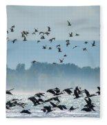 Geese And Gulls Fleece Blanket