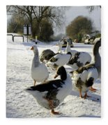 Geese At The Frozen Horninglow Basin Fleece Blanket