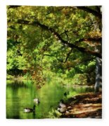 Geese By Pond In Autumn Fleece Blanket