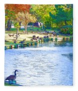 Geese In Pond 3 Fleece Blanket