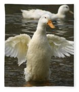 Geese In The Water Fleece Blanket