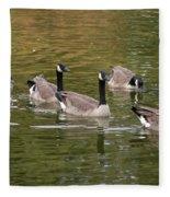 Geese On Pond Fleece Blanket