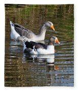 Geese On The Canal   Fleece Blanket