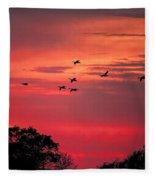 Geese On Their Sunset Arrival Fleece Blanket