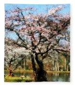 Geese Under Flowering Tree Fleece Blanket