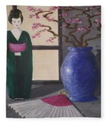 Geisha Doll Fleece Blanket