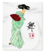 Geisha Girl Dancing Fleece Blanket