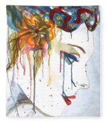 Geisha Soul Watercolor Painting Fleece Blanket