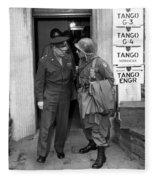 General Eisenhower And General Ridgway  Fleece Blanket