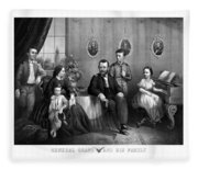 General Grant And His Family Fleece Blanket