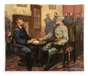 General Grant Meets Robert E Lee  Fleece Blanket