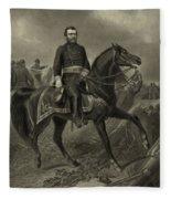 General Grant On Horseback  Fleece Blanket