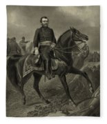 General Grant On Horseback  Fleece Blanket