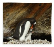 Gentoo Penguin Feeding Chicks Fleece Blanket