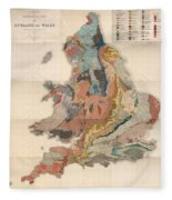 Geological Map Of England And Wales - Historical Relief Map - Antique Map - Historical Atlas Fleece Blanket